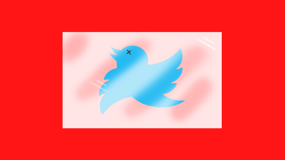Twitter logo with an X through its eyes