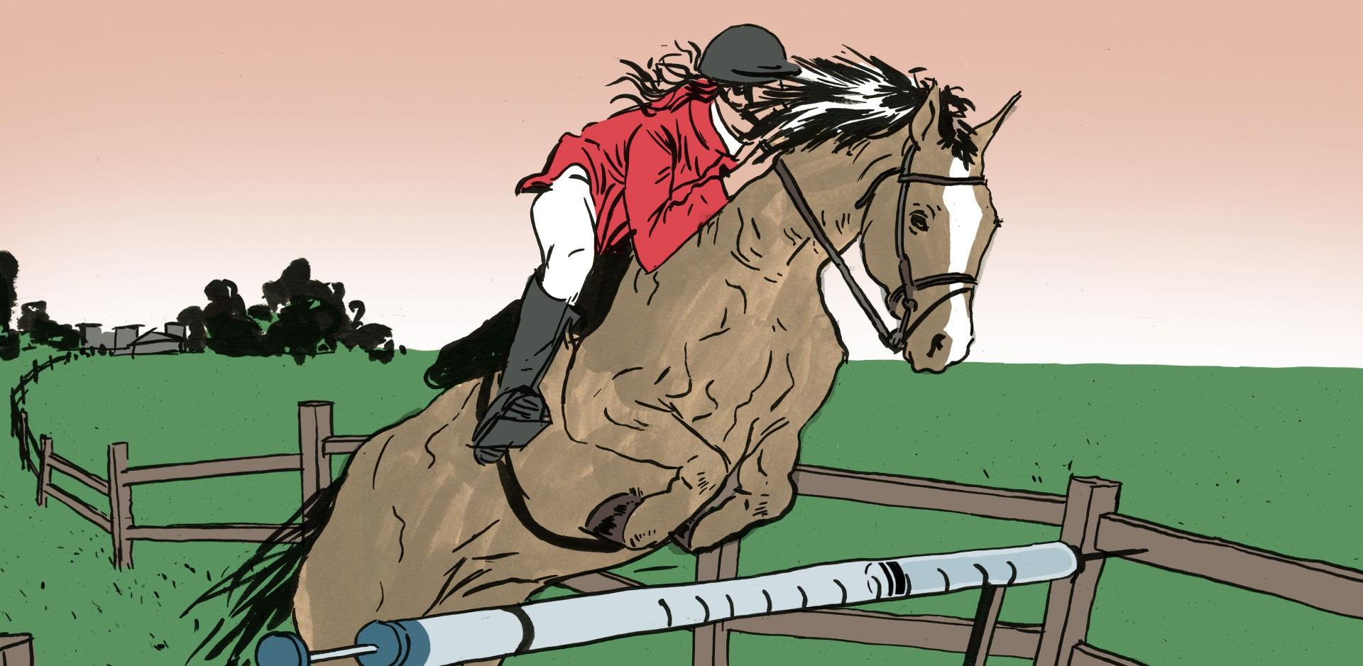 An illustration of a rider jumping a horse over a hurdle that looks like a syringe