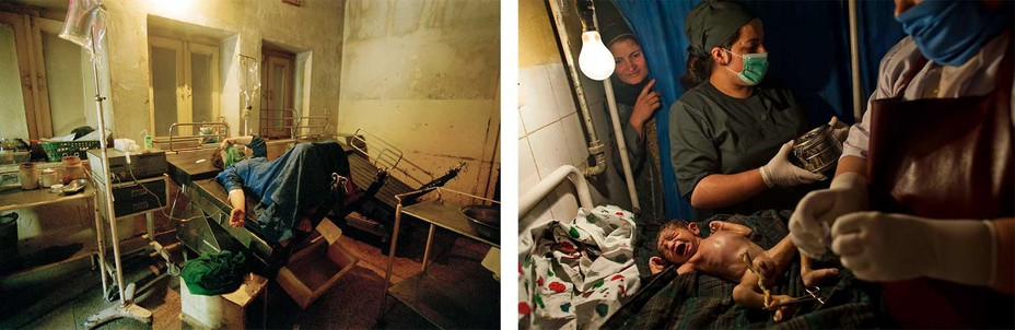 Left: A woman gives birth in a sparse hospital setting. Right: Nurses examine a newborn under a single light bulb
