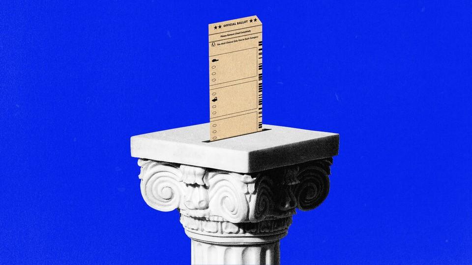 An illustration of a ballot on a pedestal.