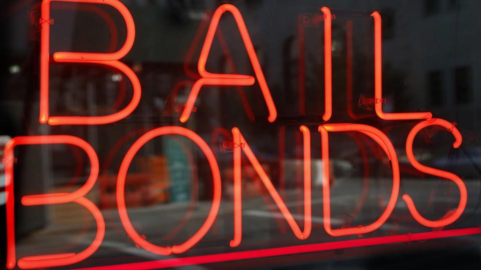 A sign advertising bail bonds