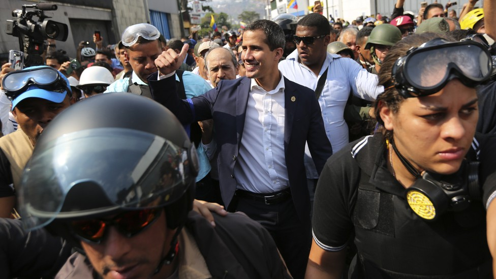 Juan Guaidó greets supporters in Caracas amidst an attempted military uprising on April 30.