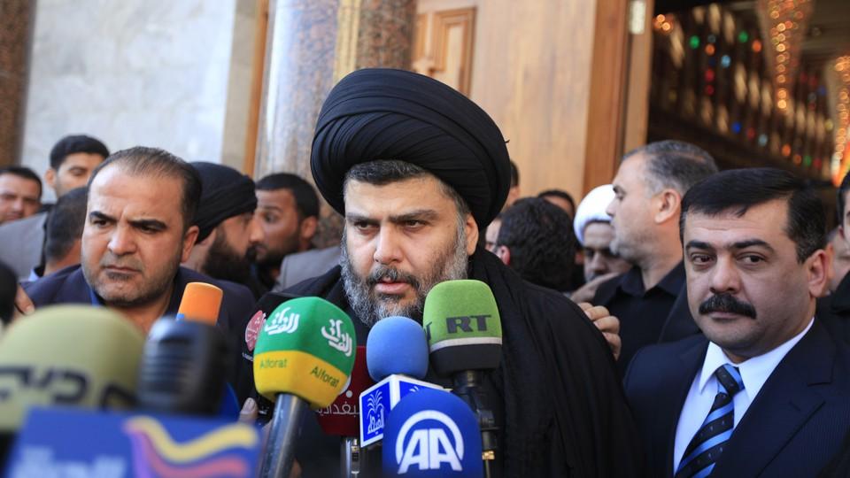 Iraqi Shia cleric Moqtada al-Sadr during his visit to Baghdad