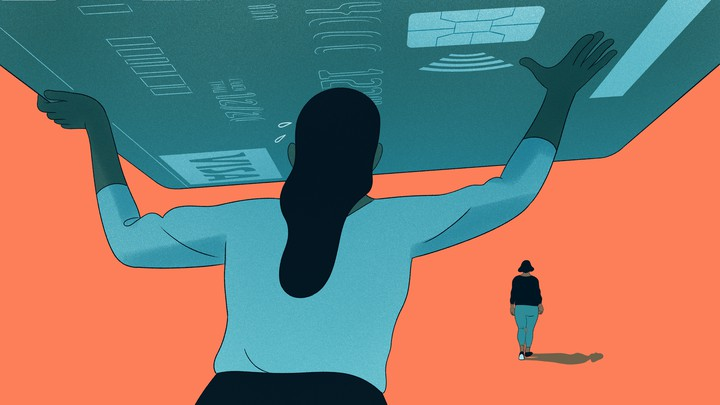 An illustration of a girl holding up a giant credit card.
