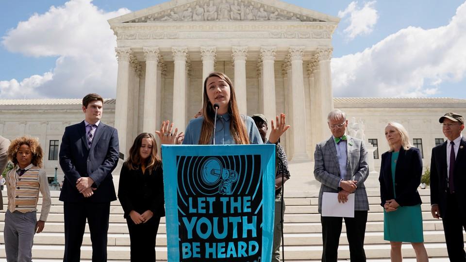 Kelsey Juliana, a lead plaintiff in the climate-change case, speaks outside the U.S. Supreme Court.