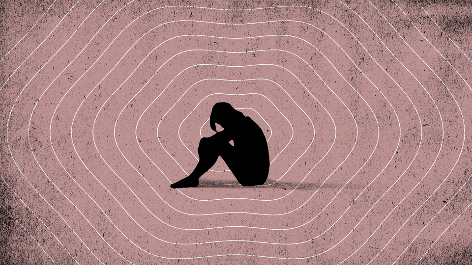 Illustration of a woman bent over in sadness, surrounded by wavy rings on a pink background