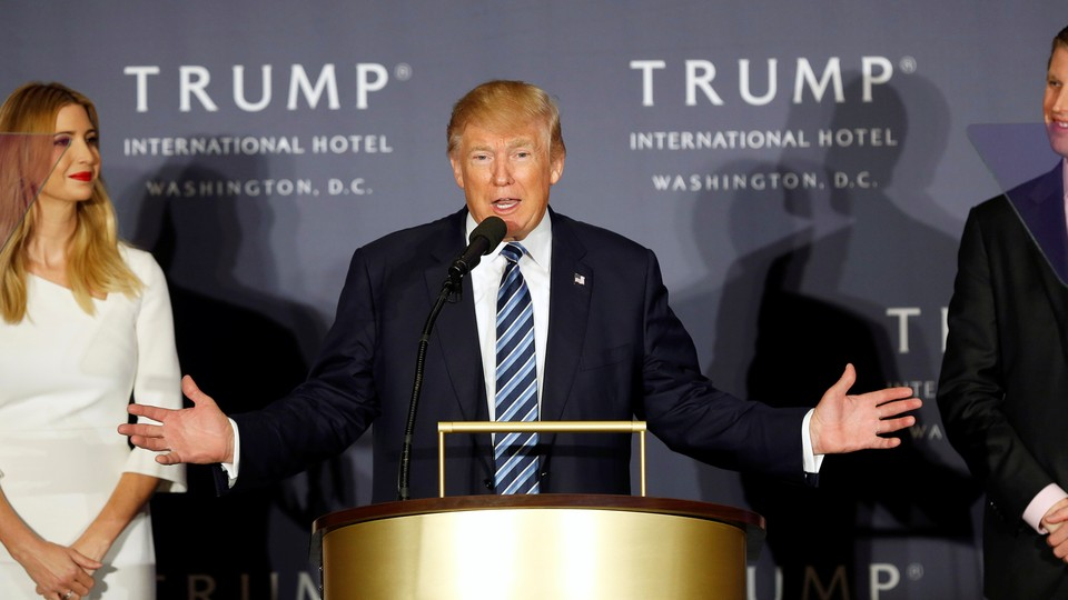 President Donald Trump at the ribbon-cutting ceremony for the Trump International Hotel in Washington, D.C.