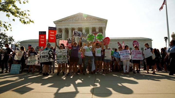 Pro-choice demonstrators outside the Supreme Court