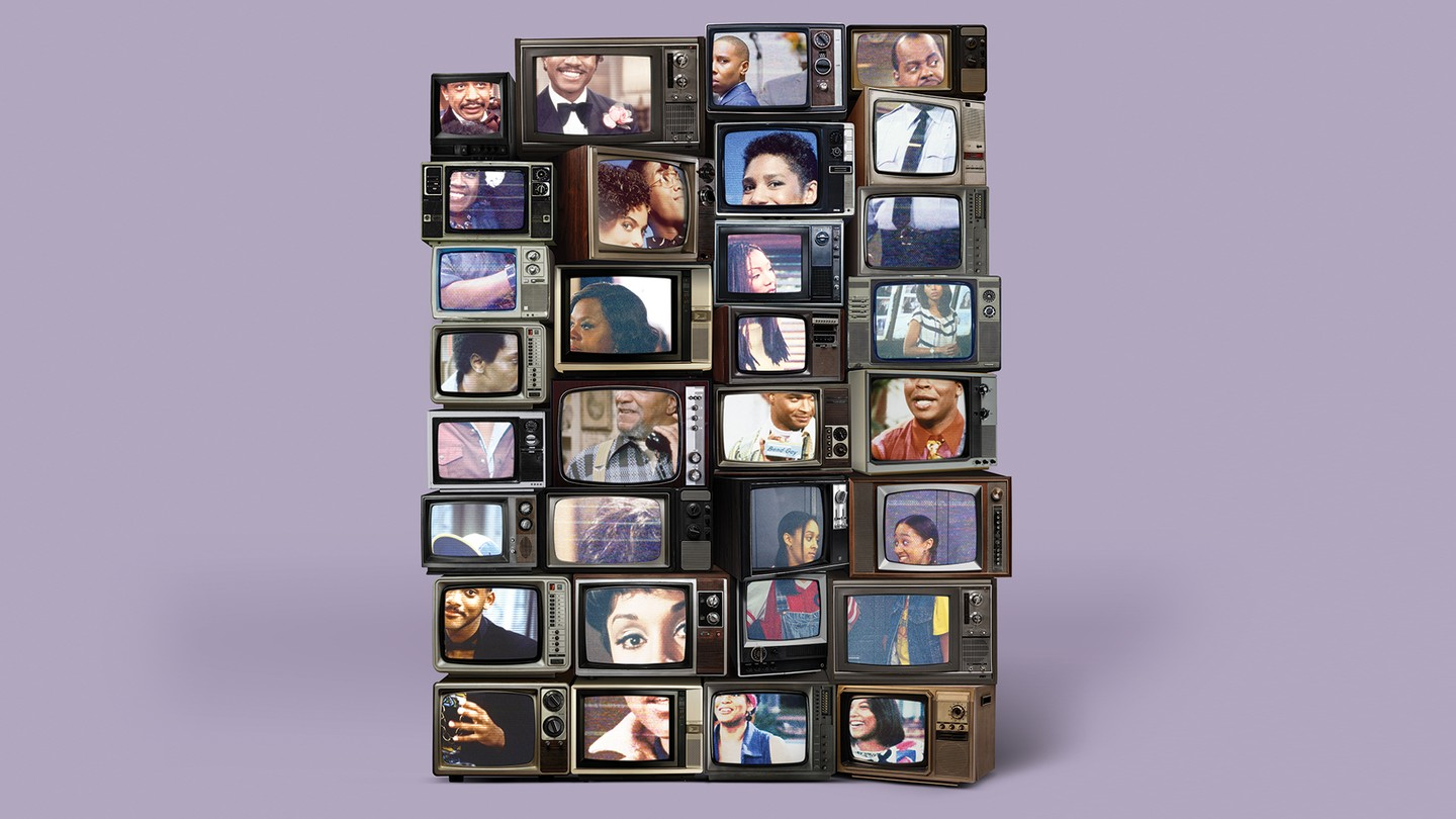 Stack of about 30 vintage TV sets, on light-purple background, showing various Black TV series over the decades