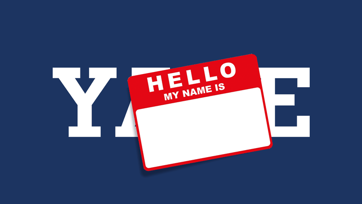 Nametag stuck over Yale