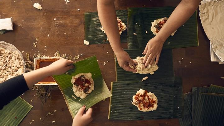 Women make tamales