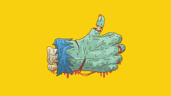 "A zombie hand giving the thumbs-up, à la a Facebook ""like"""