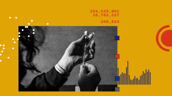 A hand holding a vaccine against a yellow background, with graphs and numbers