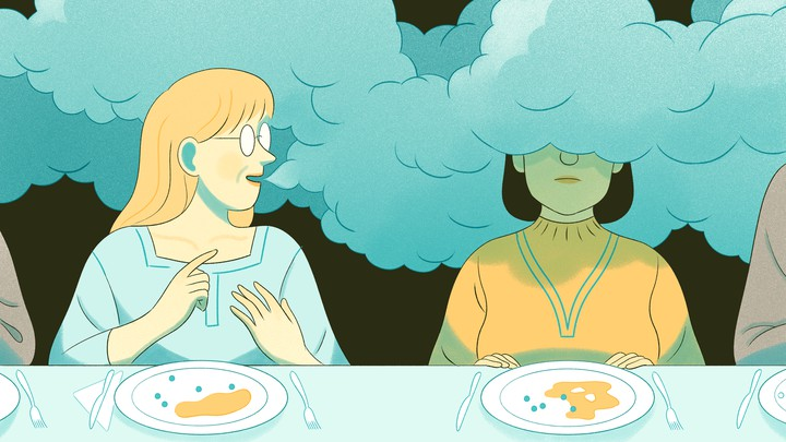 An illustration of a woman whose head is covered in fog, trying not to engage with the woman sitting next to her.