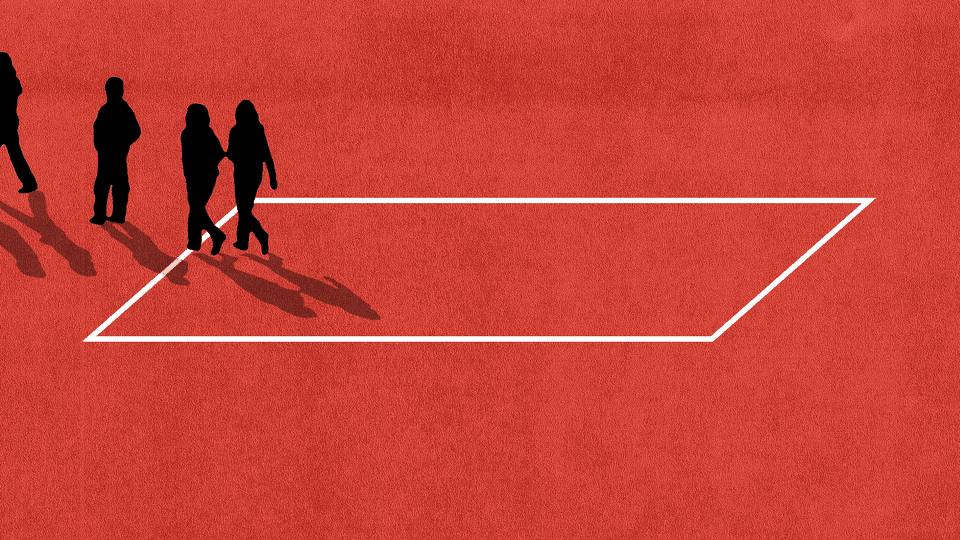 An illustration of kids walking outside of a box.