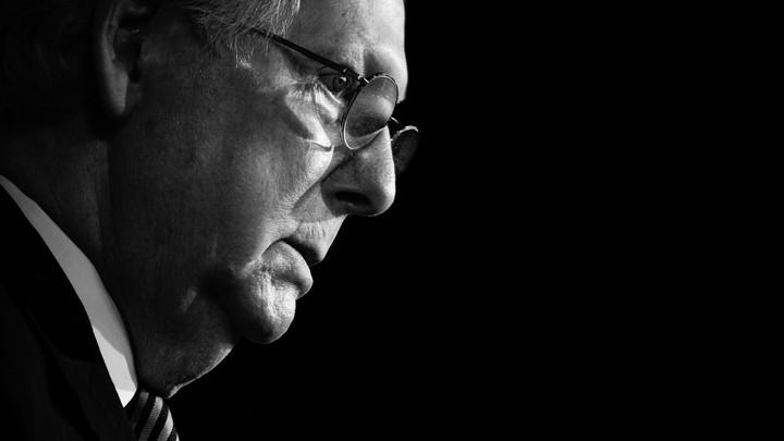Senate Majority Leader Mitch McConnell in profile