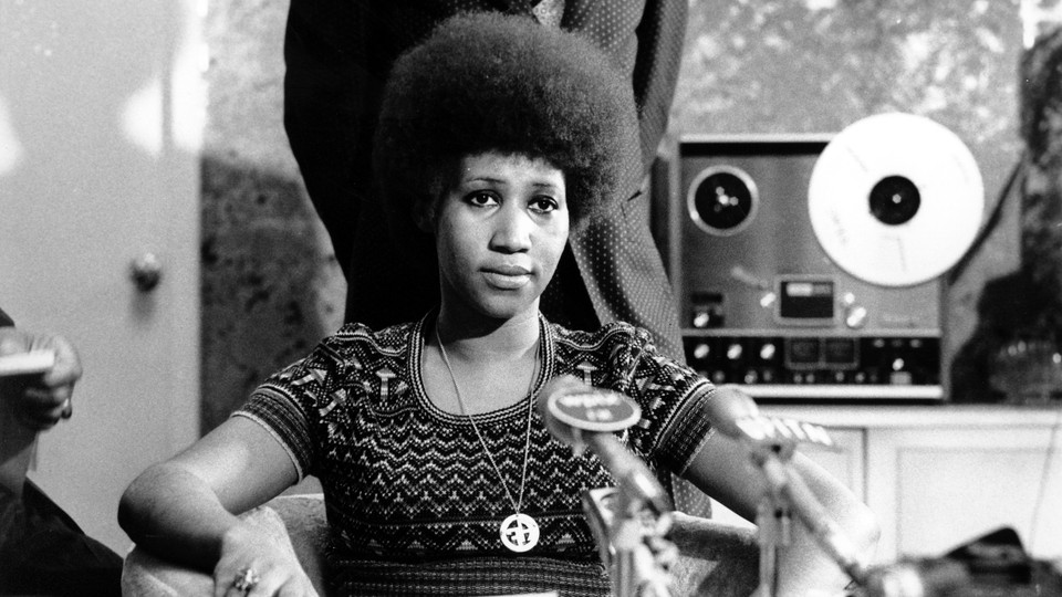 Aretha Franklin at a news conference on March 26, 1973