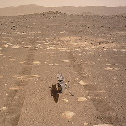 The Ingenuity helicopter on the surface of Mars