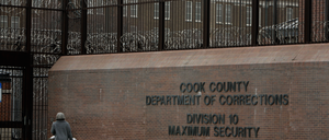 Outside the entrance of the Cook County Jail