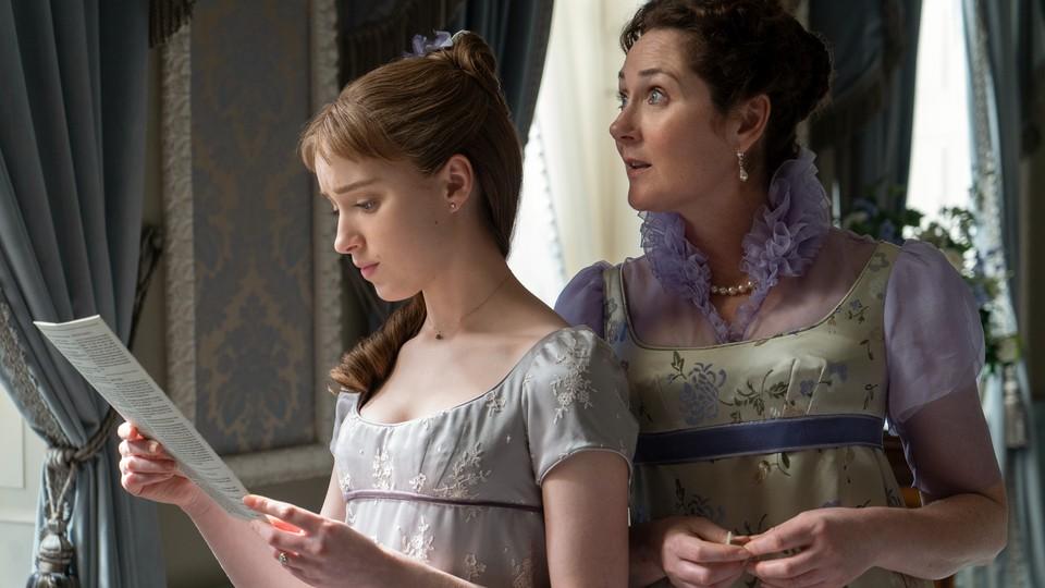 Daphne Bridgerton and Lady Violet Bridgerton examine a gossip pamphlet