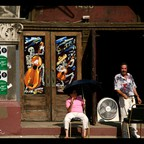 Residents of Pilsen, Chicago, on a hot day in 2007.
