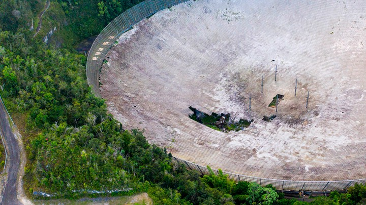 The Arecibo Observatory in November 2020, with damage visible
