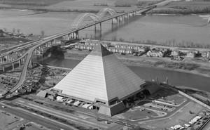 Memphis Pyramid and the Hernando DeSoto Bridge across the Mississippi River