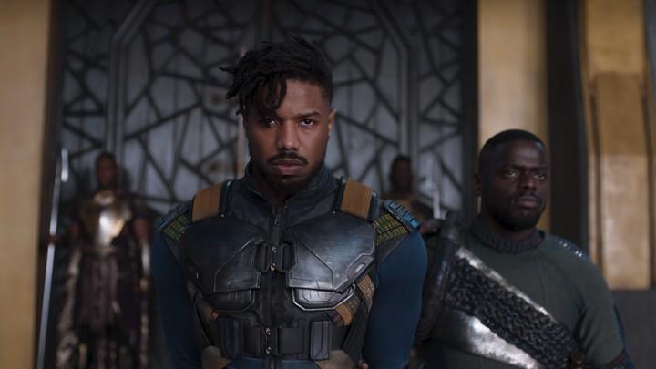 Erik Killmonger (Michael B. Jordan) and W'Kabi (Daniel Kaluuya) in 'Black Panther'