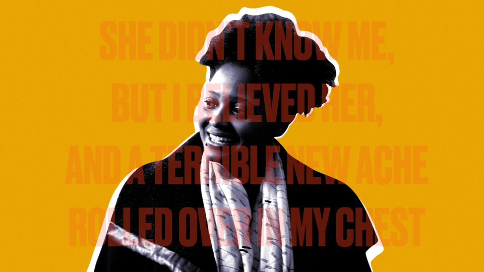 A cutout of Tracy K. Smith overlaid with text from one of her poems, 'Wade in the Water'
