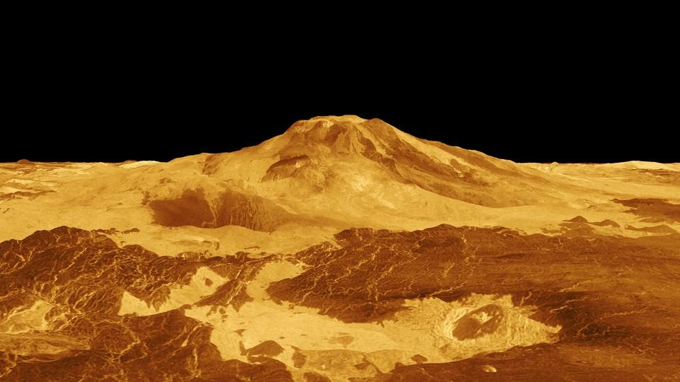 A computer-generated image of Maat Mons, a Venusian volcano