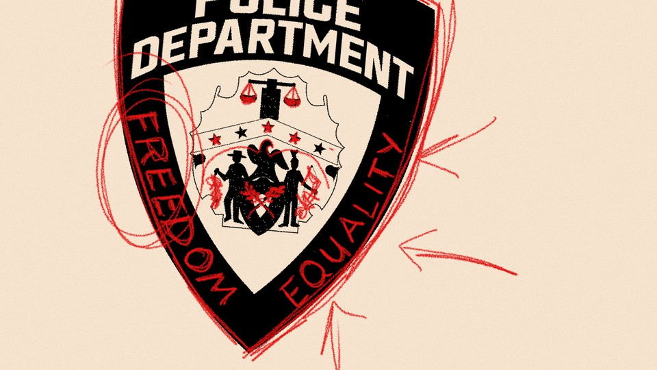 """An illustration of a police badge with """"Freedom"""" and """"Equality"""""""