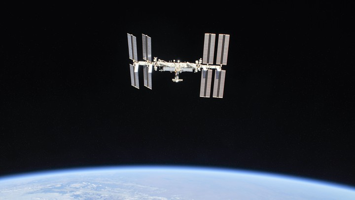 The International Space Station, with Earth below