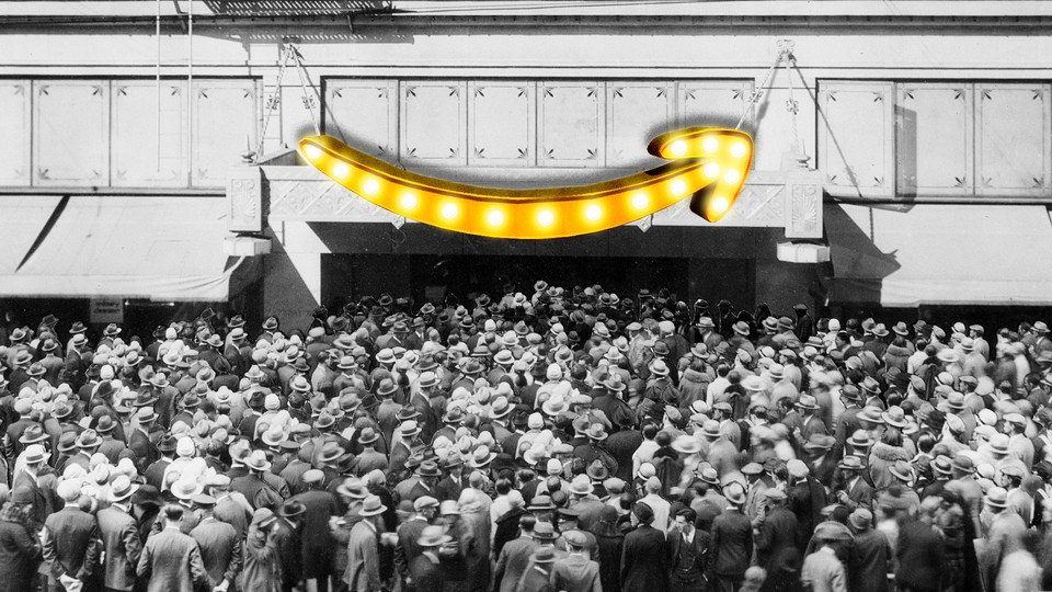 An old-timey crowd floods into a store with a giant Amazon logo superimposed on it.