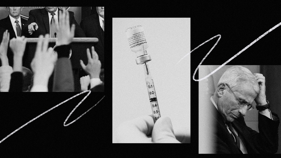 Photo illustration showing a Trump press conference, a vaccine syringe, and Anthony Fauci