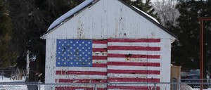 A U.S. flag painted on a barn is pictured.
