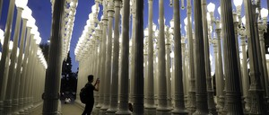 """photo: Chris Burden's """"Urban Light,"""" installed at the Los Angeles County Museum of Art, features several of L.A.'s historic streetlight styles."""