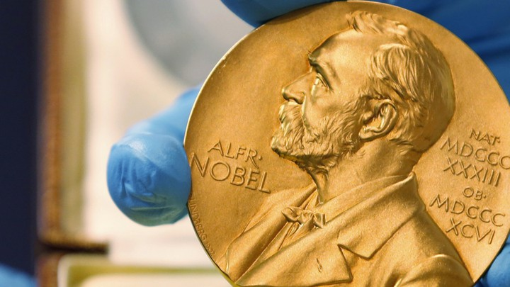 The gold Nobel Prize medal awarded to the late novelist Gabriel Garcia Marquez