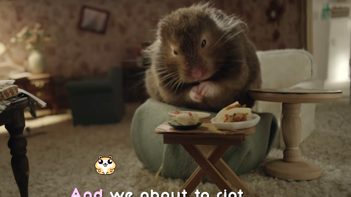 The hamster from the lyric video for 'Chained to the Rhythm'