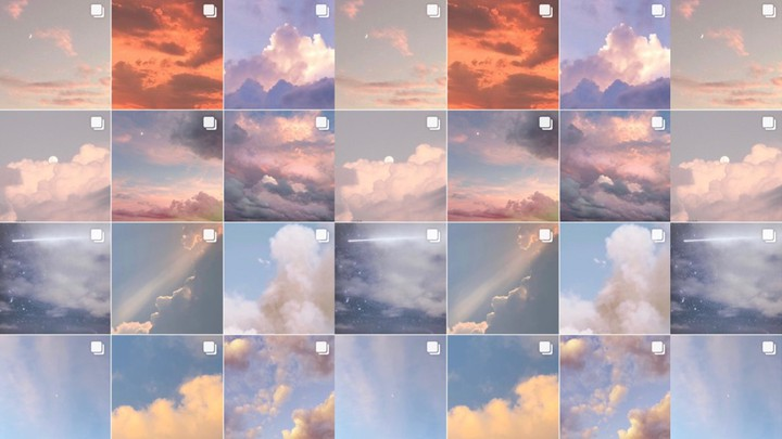 A screenshot of an Instagram grid with photos of clouds