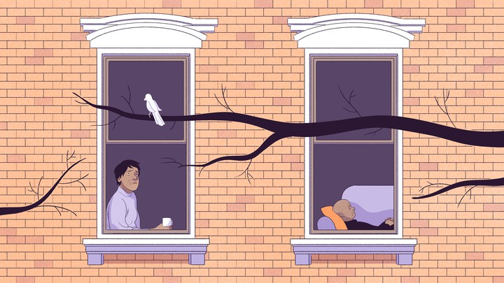 An illustration of a woman looking out her window while a man sleeps.