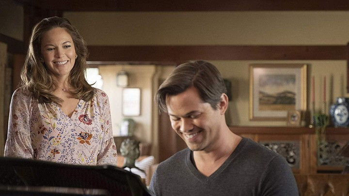 "Diane Lane (Katherine) and Andrew Rannells (David) star in ""Bright and High Circle,"" an episode of Matthew Weiner's Amazon show, ""The Romanoffs"""