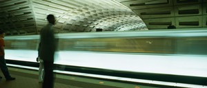 a photo of man in a D.C. Metro station.