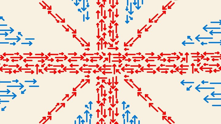 Blue and red arrows resemble the Union Jack flag.