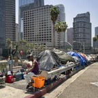 Homeless residents of Los Angeles in tents along Interstate 110.