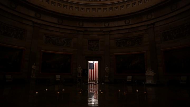 A flag inside the U.S. Capitol