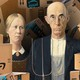 illustration of 'American Gothic' couple surrounded by Amazon boxes