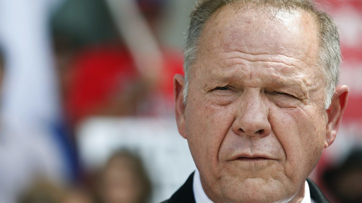 Alabama Chief Justice Roy Moore speaks to the media during a news conference in Montgomery on August 8.
