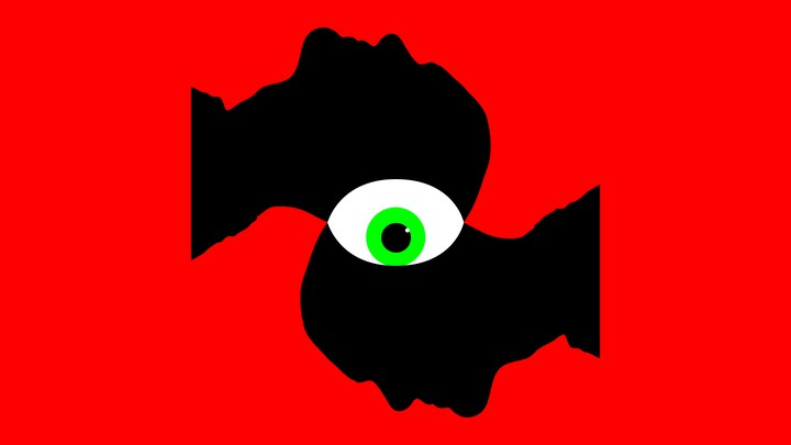 An illustration of two head busts with a giant eyeball.
