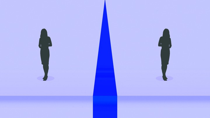 An illustration of two women reflected on both sides of a line.
