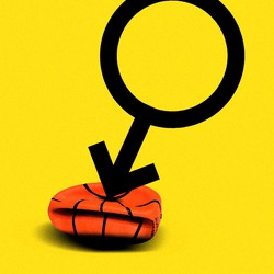 A graphic of the gender symbol for men point downward, its arrow deflating a basketball